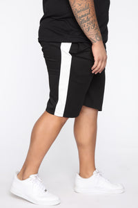 Retro Track Short - Black/White Angle 7