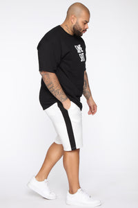 Retro Track Short - White/Black Angle 10