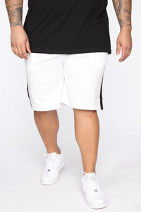 Retro Track Short - White/Black Angle 7