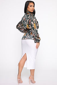 Making Boss Moves Blouse - Green/combo