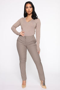 Keep It Classic V Neck Sweater - Taupe Angle 2
