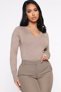Keep It Classic V Neck Sweater - Taupe Angle 1