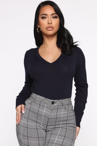 Keep It Classic V Neck Sweater - Navy Angle 1