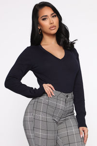 Keep It Classic V Neck Sweater - Navy Angle 3