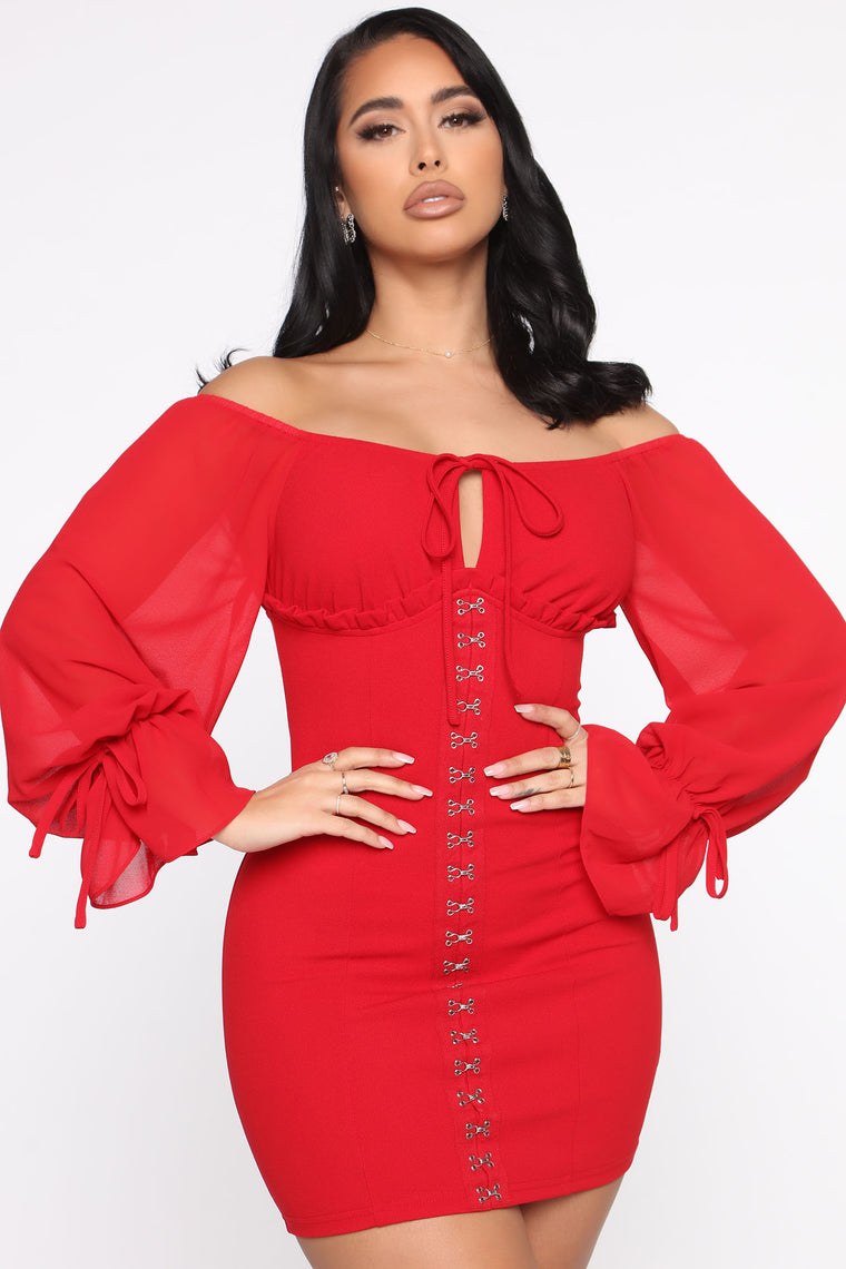 Double Standard Off Shoulder Mini Dress - Red