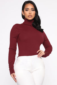 Meet Me Somewhere Outside Turtleneck Sweater - Burgundy Angle 1