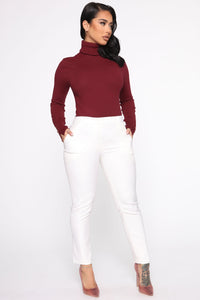 Meet Me Somewhere Outside Turtleneck Sweater - Burgundy Angle 4