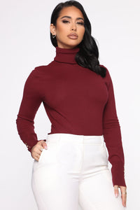 Meet Me Somewhere Outside Turtleneck Sweater - Burgundy Angle 3