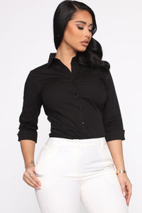 The One And Only Button Down Shirt - Black Angle 3
