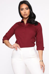 The One And Only Button Down Shirt - Burgundy Angle 1