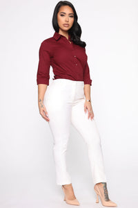 The One And Only Button Down Shirt - Burgundy Angle 4