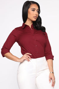 The One And Only Button Down Shirt - Burgundy Angle 3
