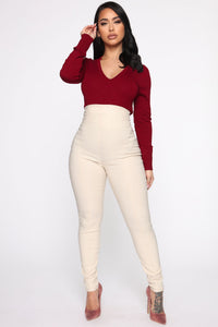 Keep It Classic V Neck Sweater - Burgundy Angle 2