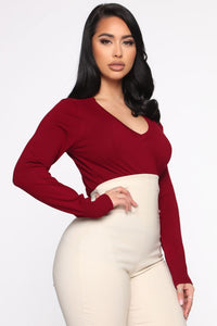 Keep It Classic V Neck Sweater - Burgundy Angle 3