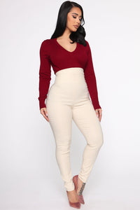 Keep It Classic V Neck Sweater - Burgundy Angle 4
