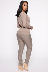 Keep It Classic V Neck Sweater - Taupe Angle 4