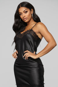 She's A Pleaser Satin Slip Dress - Black