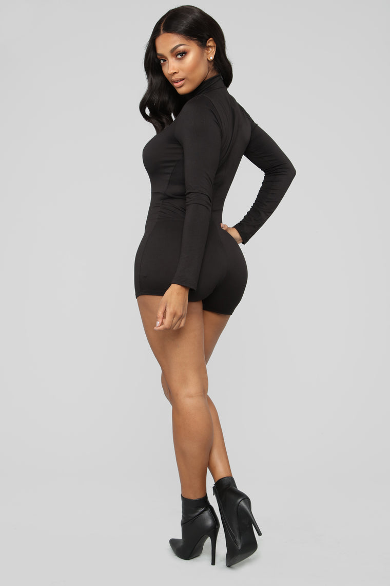 February Mock Neck Romper - Black