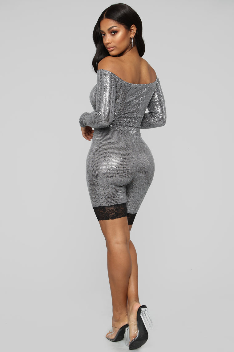 Lookin' Like a Gem Metallic Romper - Silver