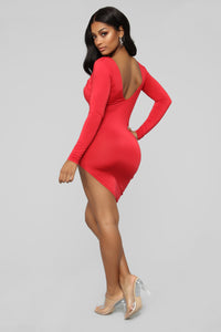 Going Out Tonight Asymmetrical Dress - Red