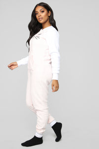 Sleepy Kitten PJ Onesie - Pink