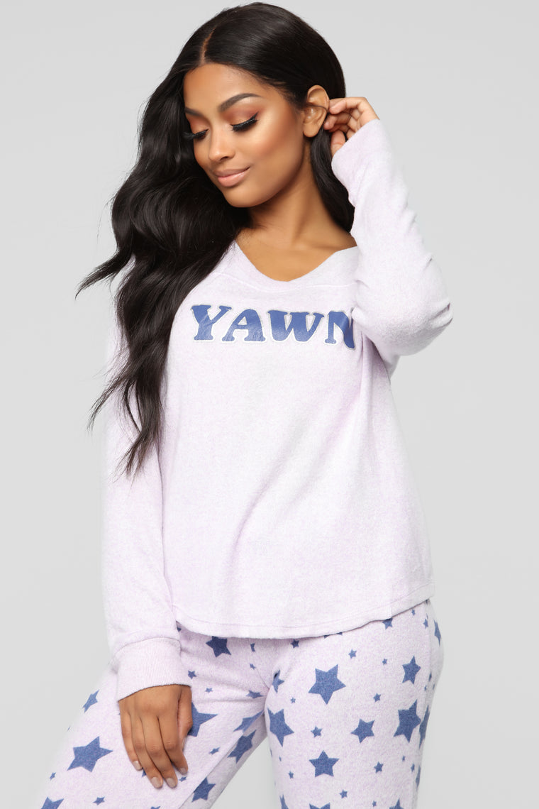 Deep Yawn 2 Piece PJ Set - Purple