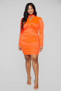 Be Knotty Mini Dress - Neon Orange Angle 5