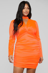 Be Knotty Mini Dress - Neon Orange Angle 6