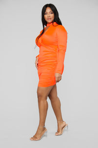 Be Knotty Mini Dress - Neon Orange Angle 7