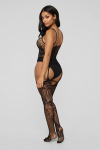 Up At Midnight Lace Body Stocking - Black