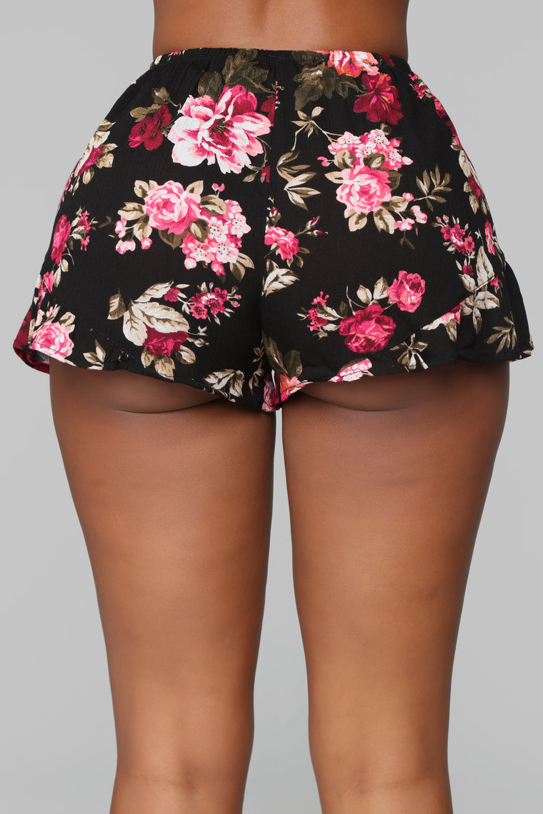 Will You Take This Rose Ruffle Shorts - Black