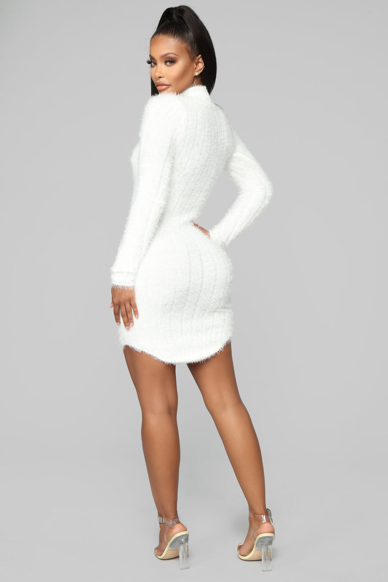 Feel Me Up Fuzzy Sweater Dress - White