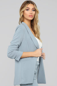 The Celine Blazer - Dusty Blue