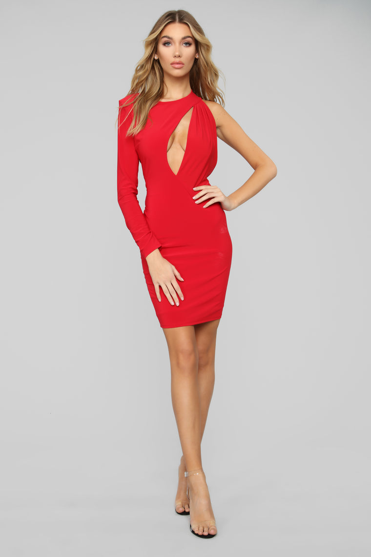 Cutting You Out One Shoulder Midi Dress - Red