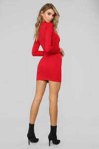 Always Snapping Cut Out Mini Dress - Red