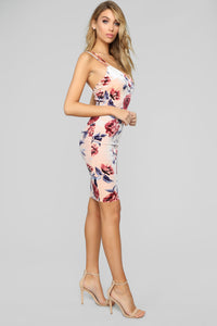 Forever Beauty Floral Midi Dress - Blush Floral