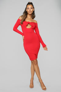 Knot Your Business Midi Dress - Red