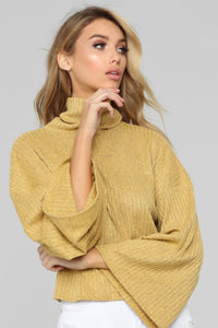 Wicked Games Turtleneck Top - Mustard