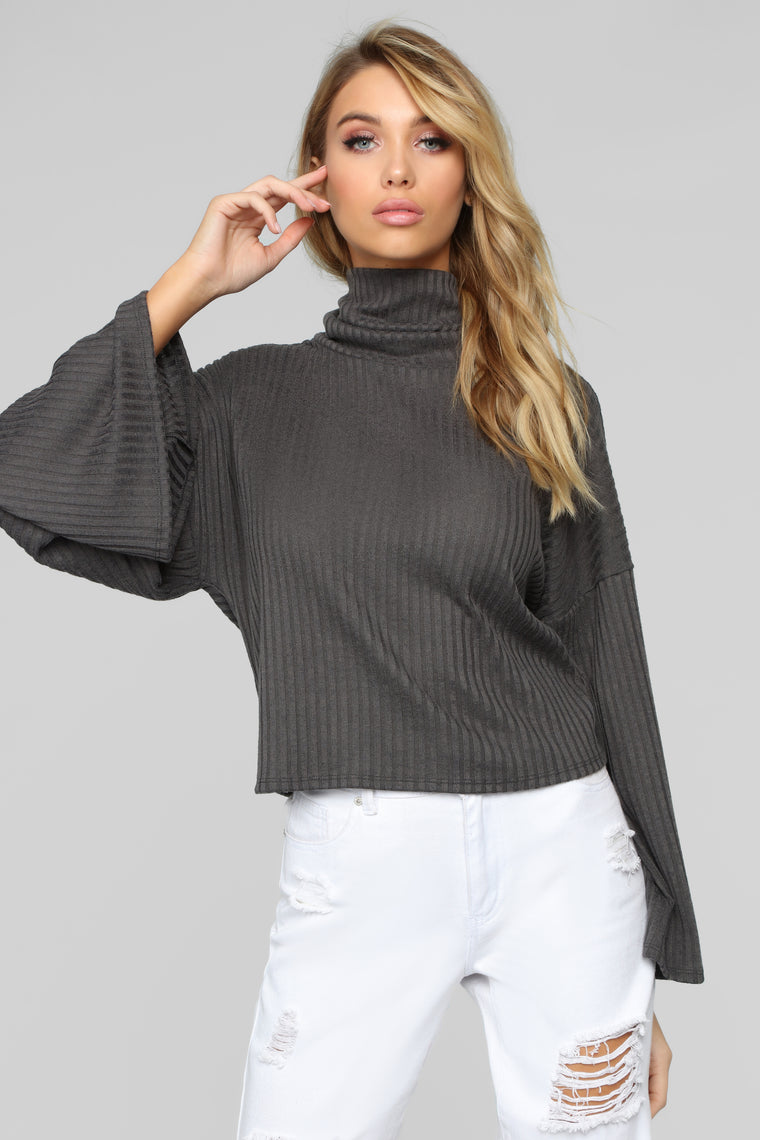 Wicked Games Turtleneck Top - Charcoal
