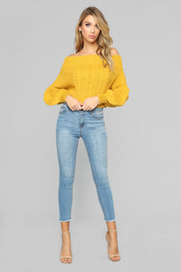 Caitlin Off Shoulder Sweater - Mustard