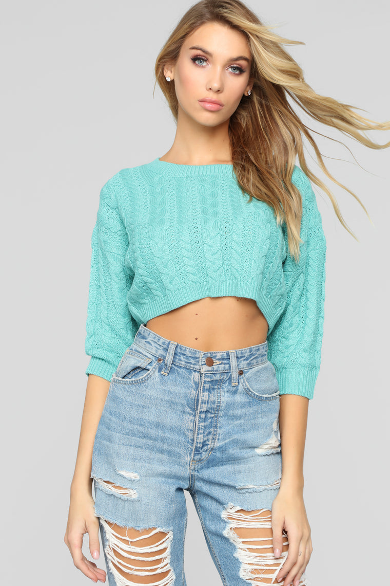 Better Off Alone Sweater   Turquoise by Fashion Nova