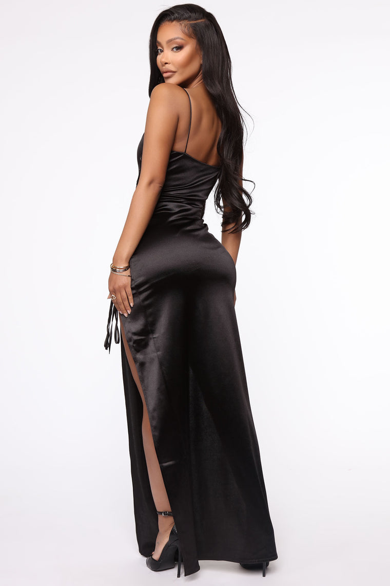 After Hours Only Satin Maxi Dress - Black