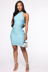 Clink And Sip Bandage Halter Mini Dress - Blue Angle 1