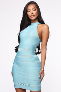 Clink And Sip Bandage Halter Mini Dress - Blue Angle 2