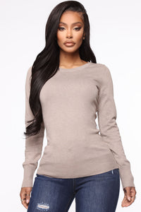 The Crew Neck Classic Sweater - Taupe Angle 1