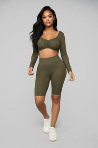 Loving You Is Easy Lounge Set - Olive Angle 1