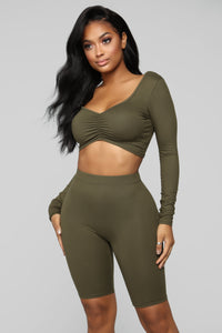 Loving You Is Easy Lounge Set - Olive Angle 2