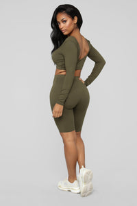 Loving You Is Easy Lounge Set - Olive Angle 4