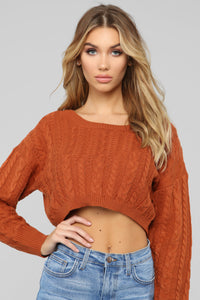 Let You Love Me Sweater - Cognac Angle 1