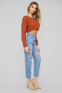 Let You Love Me Sweater - Cognac Angle 4